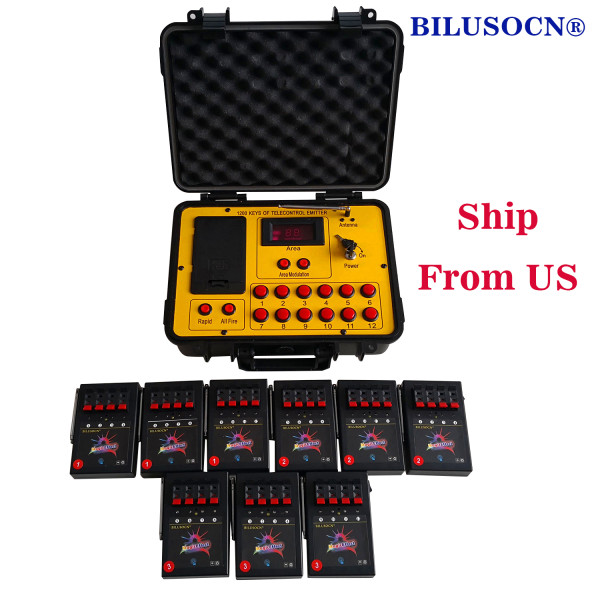 Shipping From USA Bilusocn 500M distance+36 Cues Fireworks Firing System ABS Waterproof Case remote Control Equipment