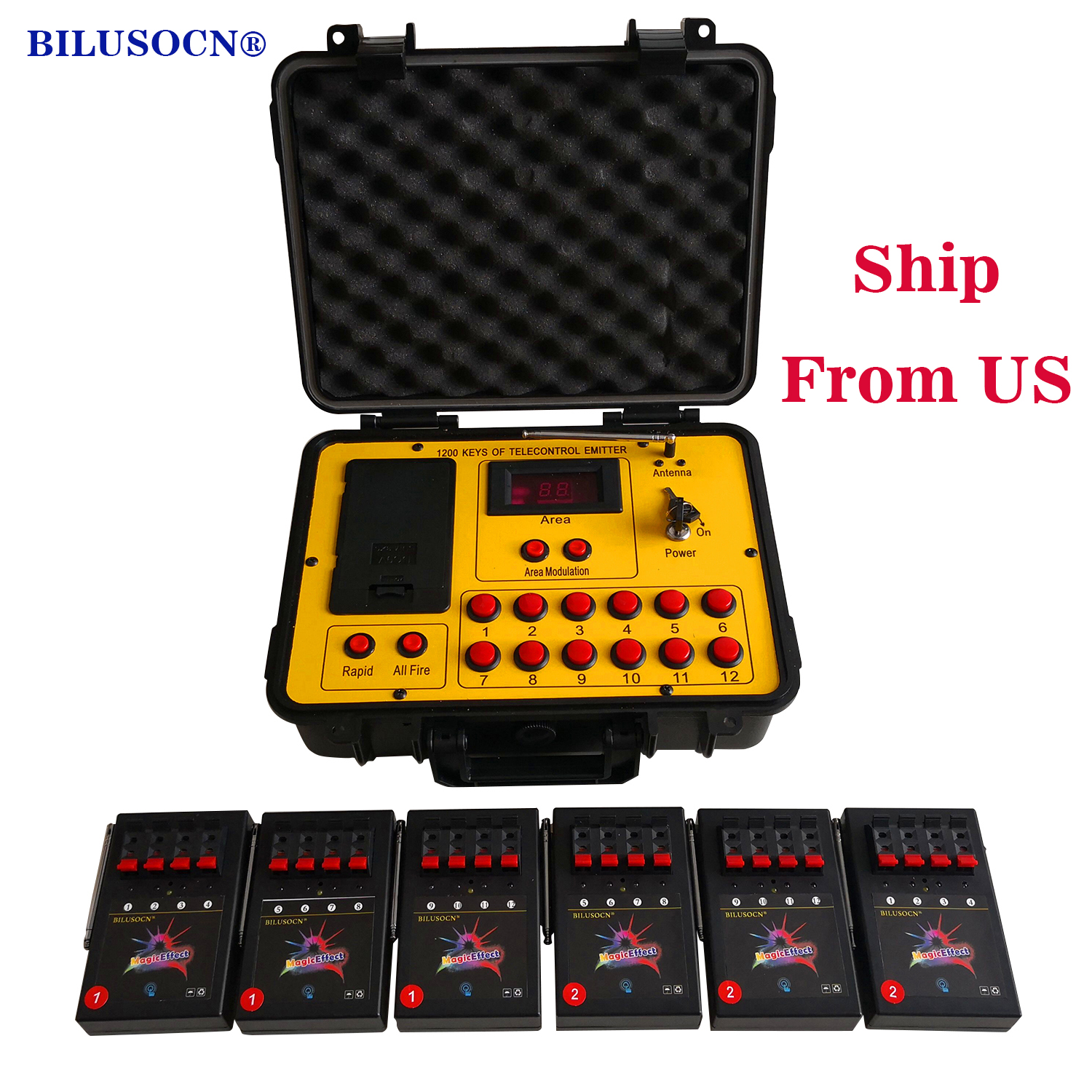 Shipping From USA Bilusocn 500M distance+24 Cues Fireworks Firing System ABS Waterproof Case remote Control Equipment