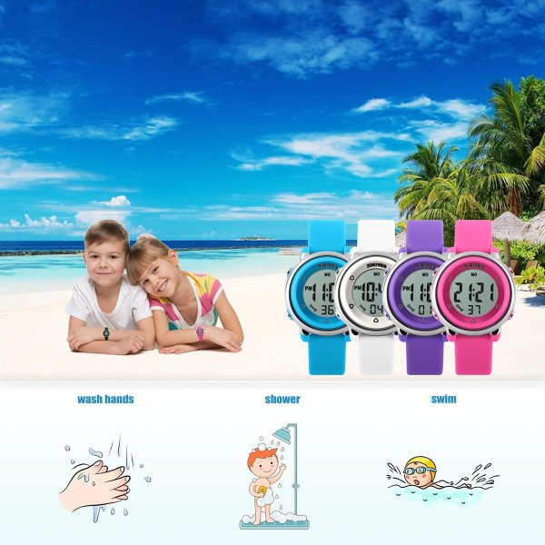 Fashion Sports Kids Watches Waterproof Alarm Watch Children Back Light Calendar Digital Wristwatches Relogio Infantil 1100