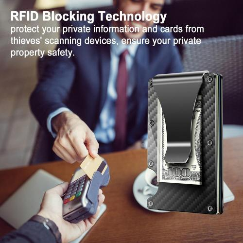 Carbon Fibre Wallet, Slim Money Clip & Minimalist RFID Blocking Front Packet Slim Wallet, Aluminum Metal Wallet & Business Card