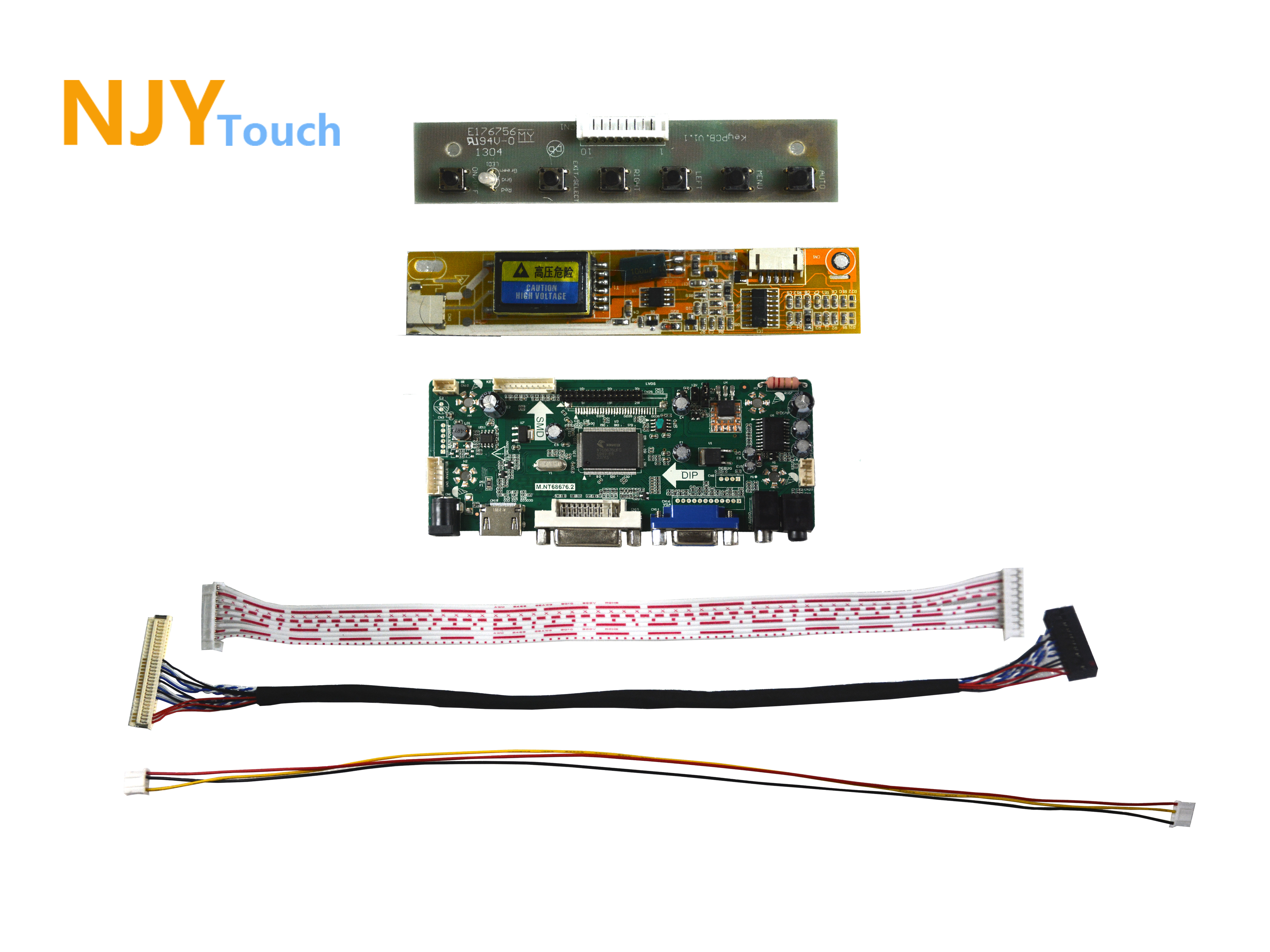 NJYTouch M.NT68676.2A HDMI VGA DVI LVDS LCD Controller Board For 16inch LTN160AT01 1366x768 LCD Screen