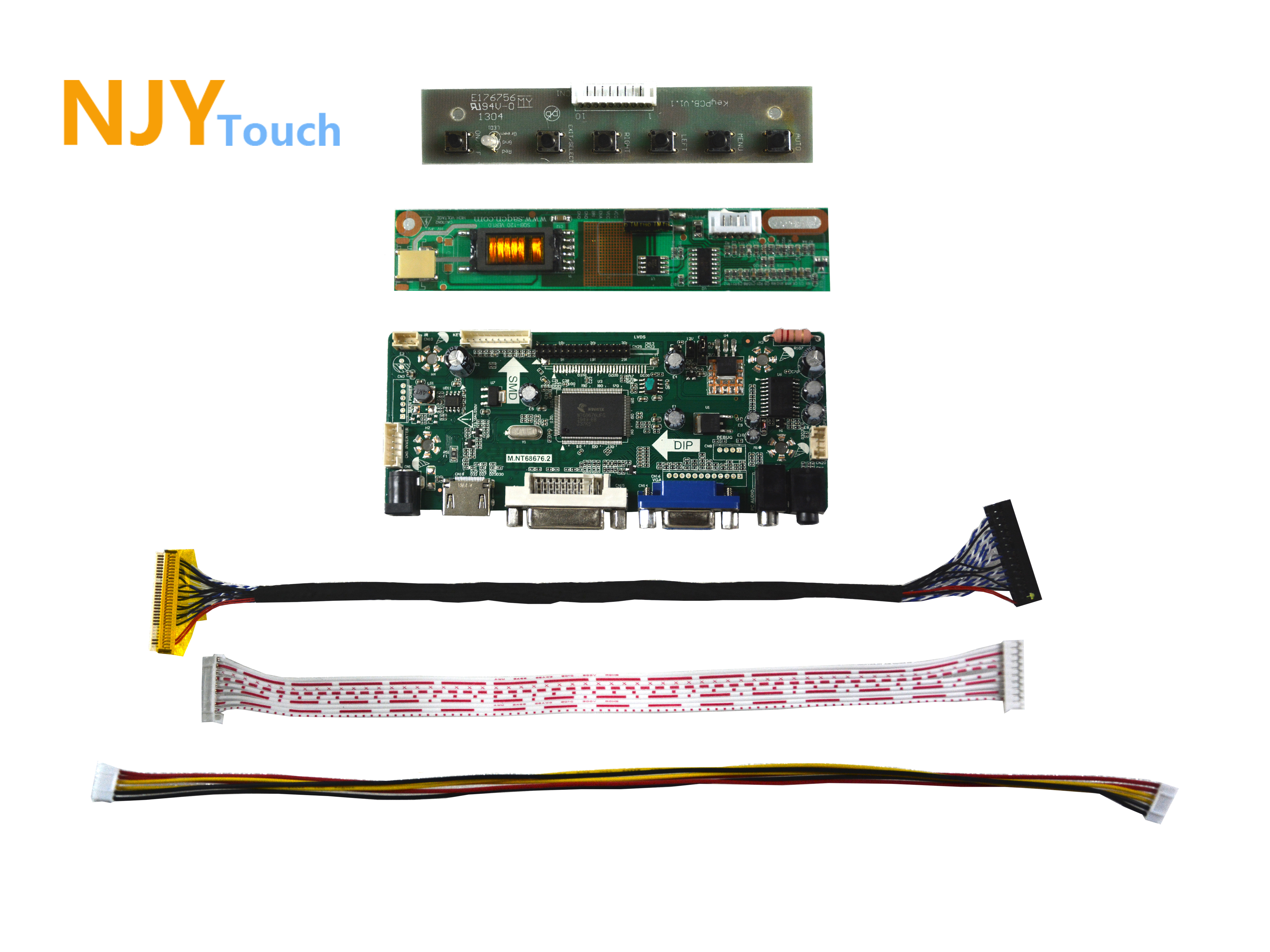 NJYTouch M.NT68676.2A HDMI VGA DVI Controller Board For 14.1inch B141PW01 V3 B141PW01 V0 1440x900 LCD Screen