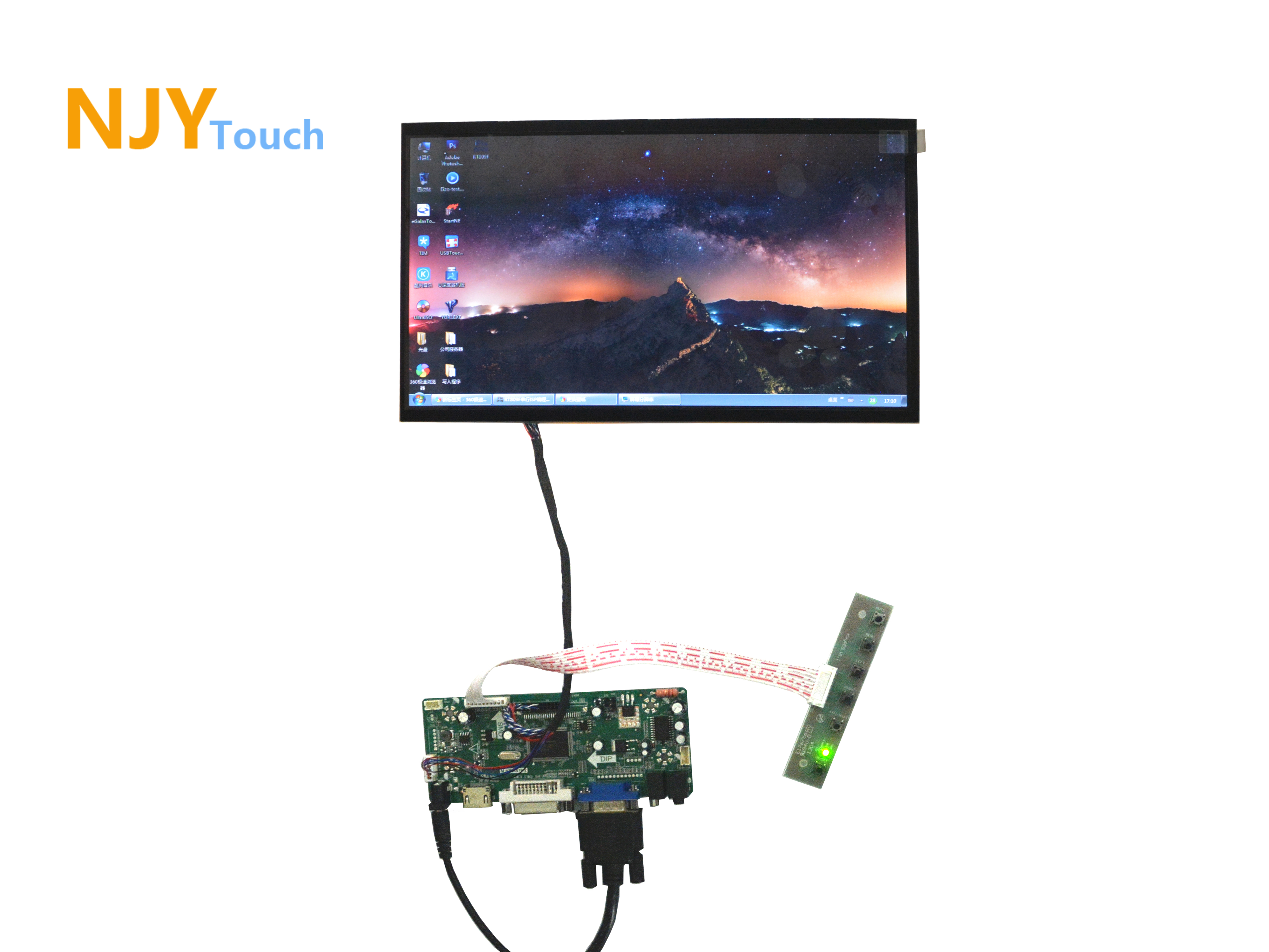 NJYTouch M.NT68676.2A HDMI DVI VGA Audio LCD Controller Board With 11.6inch B116XW02 1366x768 40Pin LED Screen