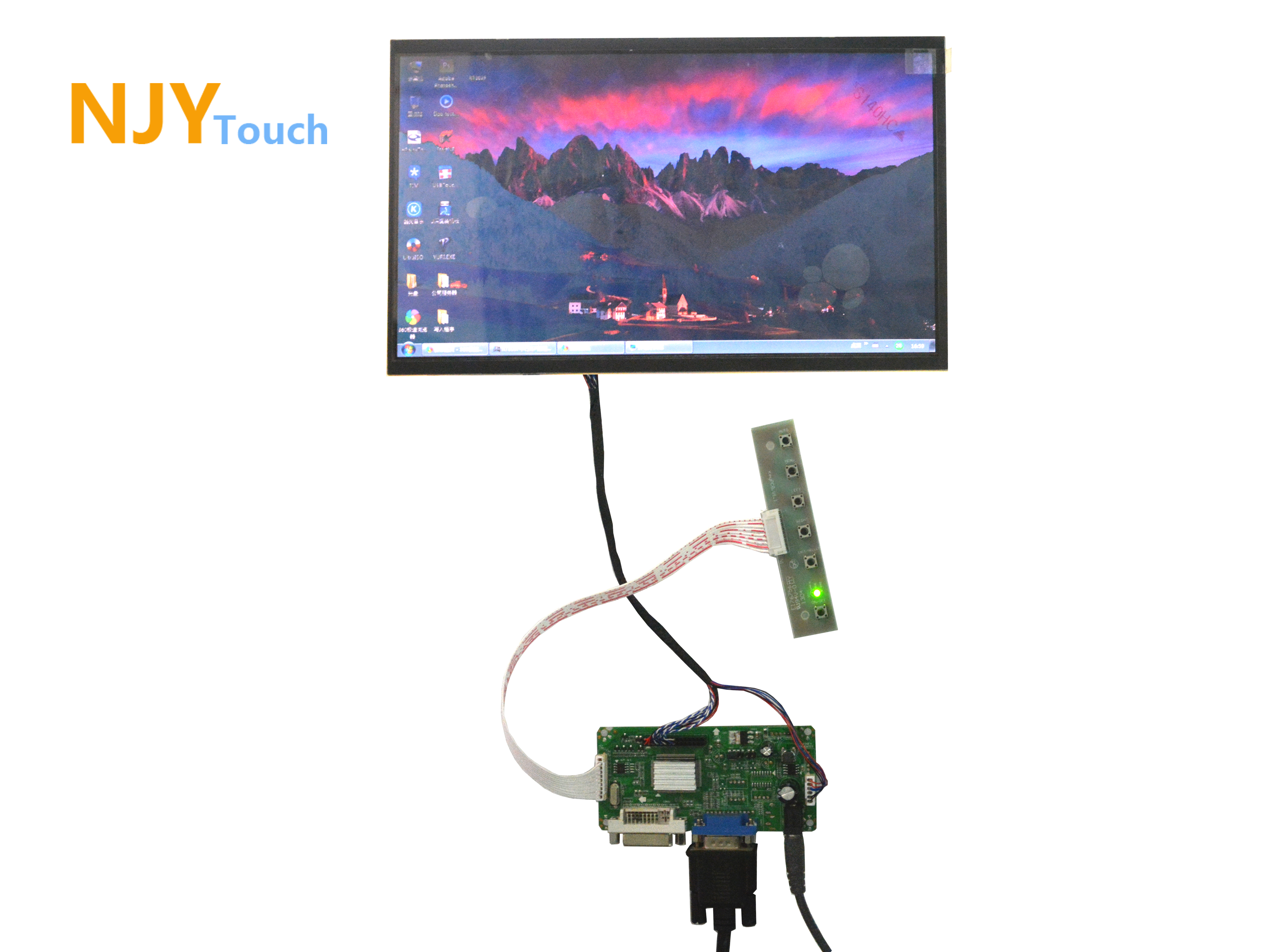 NJYTouch LM.R61 DVI VGA LVDS LCD Controller Board With 11.6inch B116XW02 1366x768 40Pin LED Screen