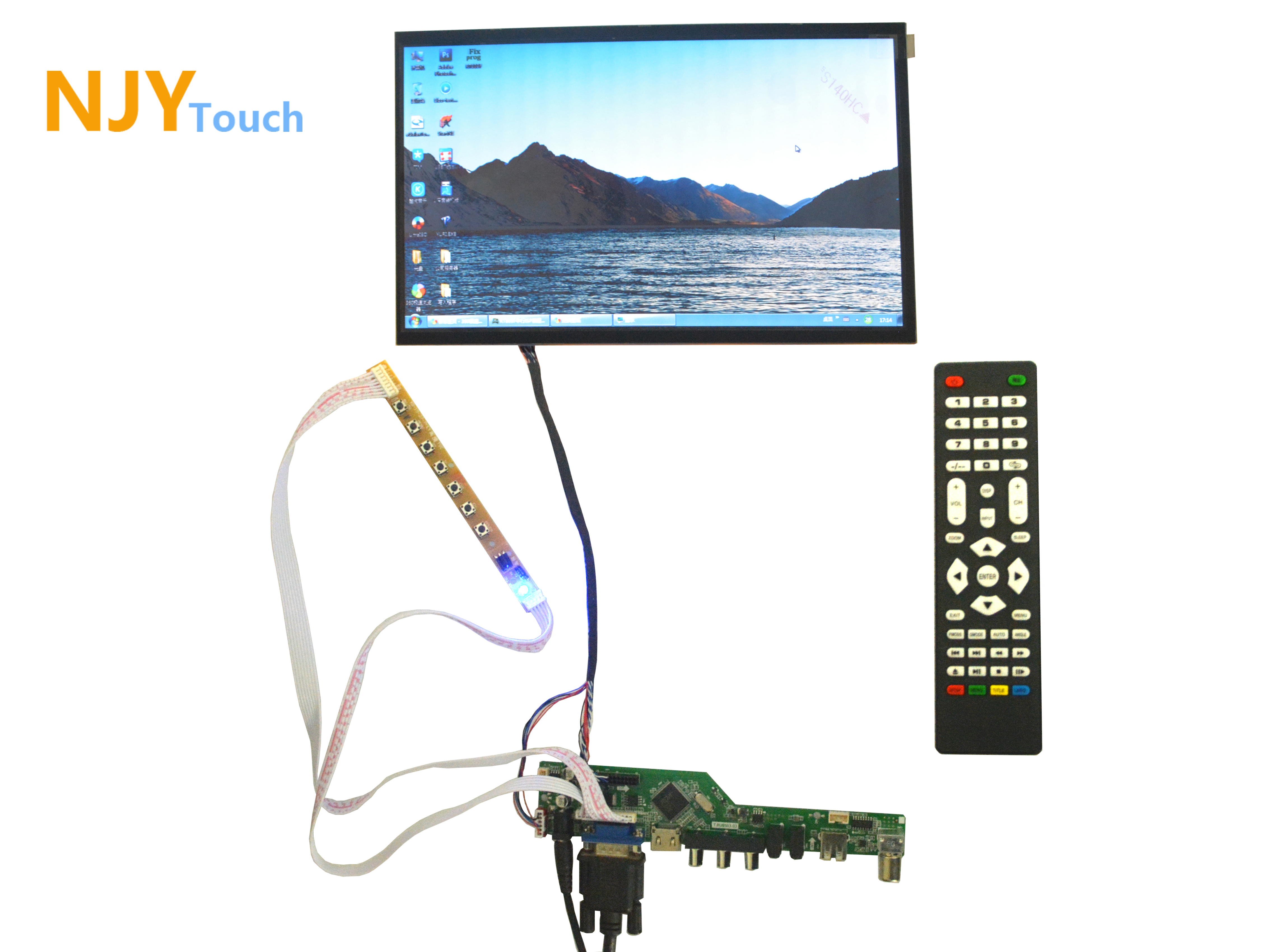 NJYTouch TV HDMI VGA AV USB AUDIO LCD Controller Board With 11.6inch B116XW02 1366x768 40Pin LED Screen