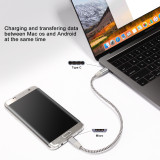 Fasgear USB C to Micro USB Cable 30cm Nylon Braided Type C to Micro USB Cord Compatible with Galaxy S7/S6, HTC One/10 and More