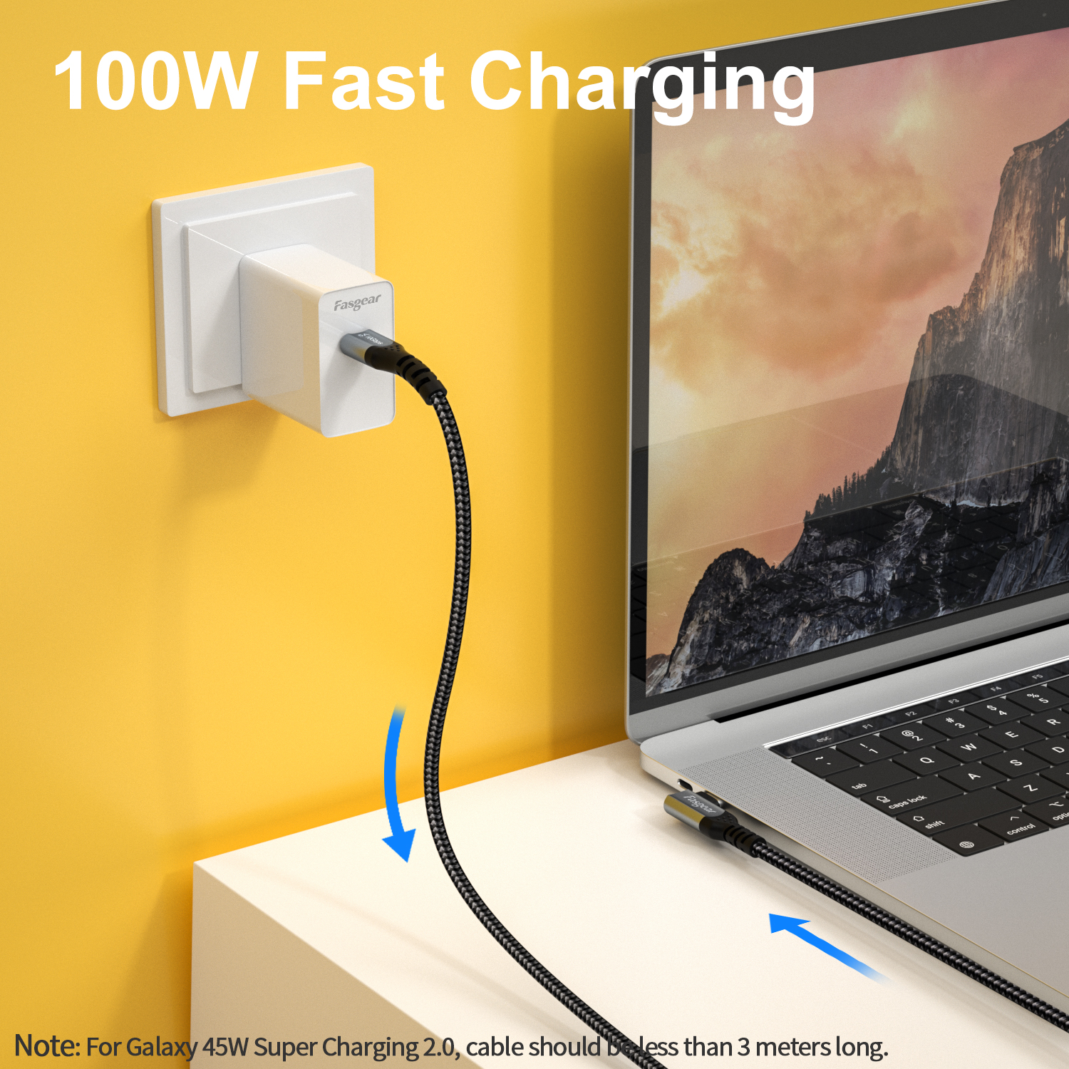 BoxWave Jet Black - USB-C to USB-C Type C Braided 3ft Charge and Sync Cable for Sager NP9156-G2 Sager NP9156-G2 Cable 3ft 100W DirectSync PD Cable