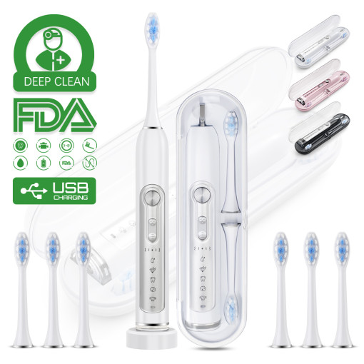 Muttus Electric Toothbrush & Sonic Toothbrushes, Travel Case Enable, 6 Brushheads, 5 Modes 15 Brushing Experience