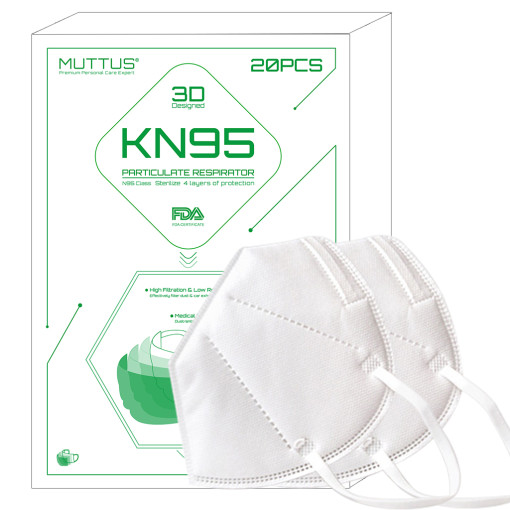 MUTTUS Particulate Respirator KN95 Facial Medical Mask, N95 Class, 4 Layers of Protection, 3D Designed, CE & FDA Certificate, 20PCS/Set