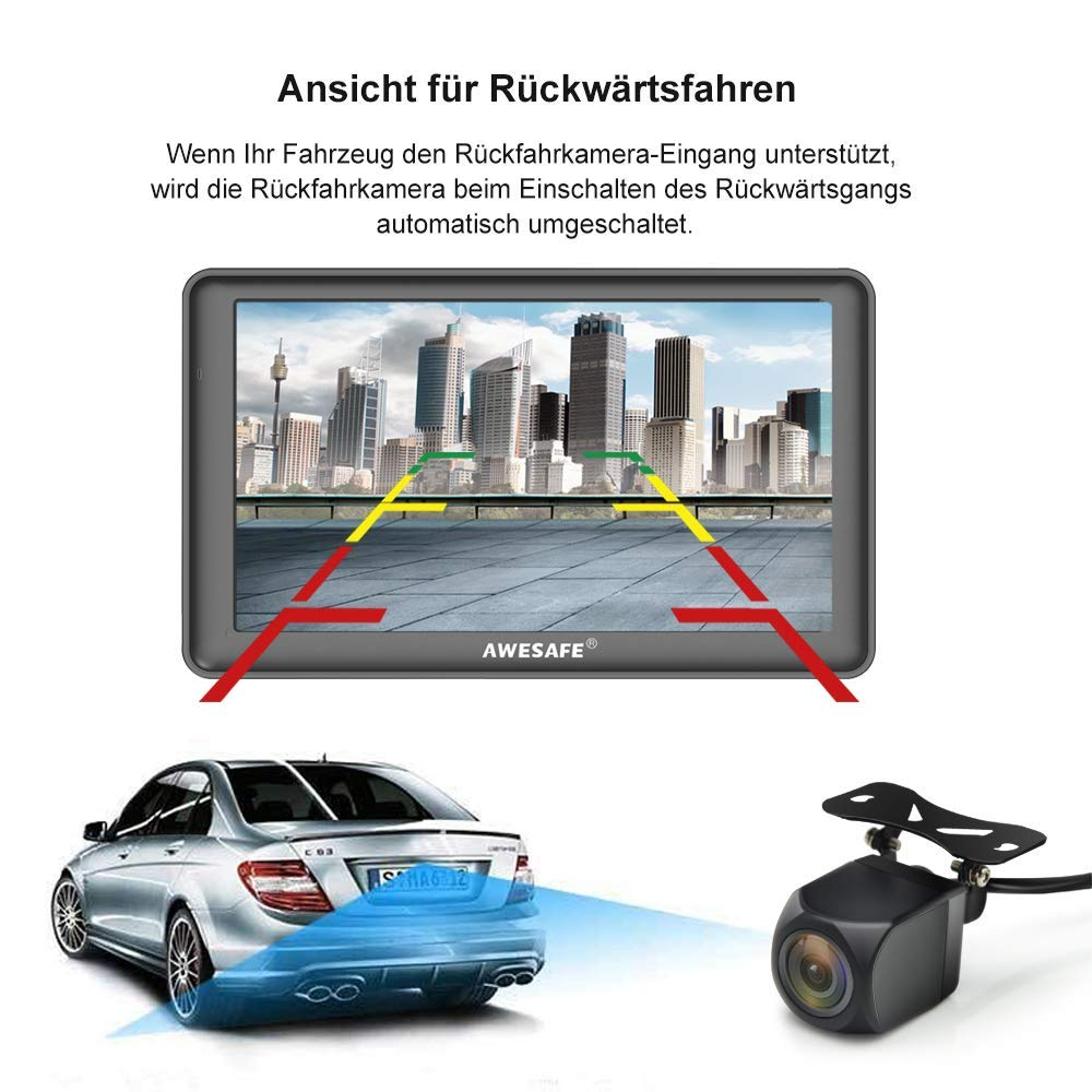 AWESAFE 7 Zoll Navigationsger/ät f/ür Auto LKW Navi mit Bluetooth und R/ückfahrkamera 2020 Europa Karte untert/ützt lebenslang Kartenupdate