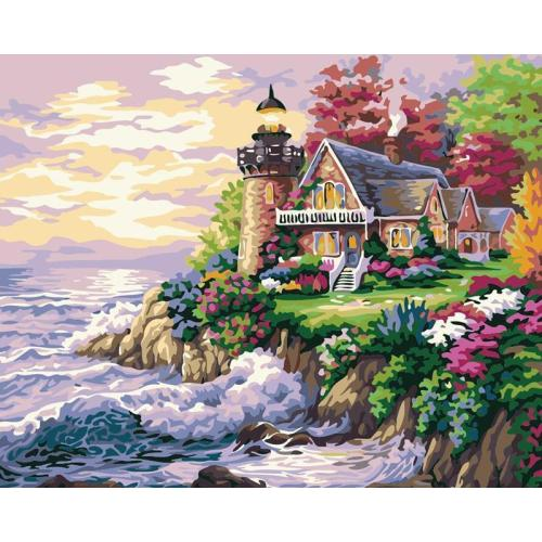 DIY Painting By Numbers - Lake House (16 x20  / 40x50cm)