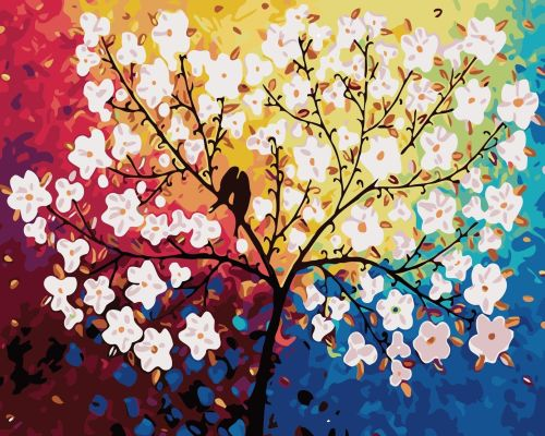 DIY Painting By Numbers - Colorful Tree With Birds(16 x20  / 40x50cm)