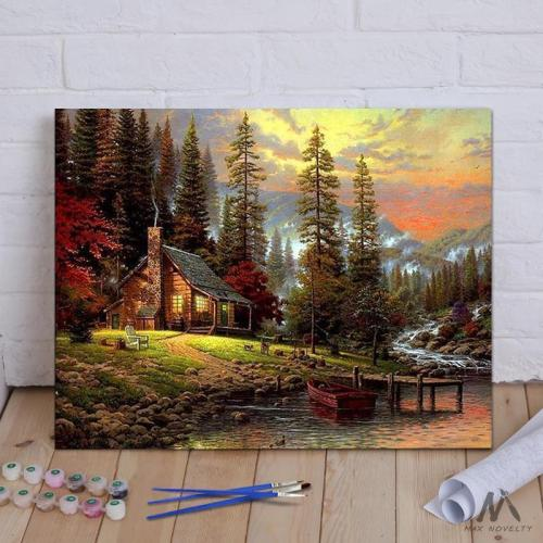 DIY Painting By Numbers -  Cabin in the woods (16 x20  / 40x50cm)