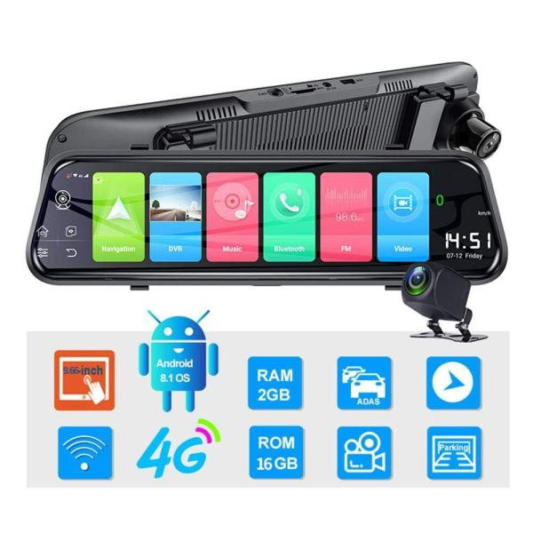 New streaming media driving recorder HD rearview mirror 10 inch full screen car car front and rear dual lens