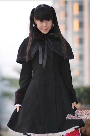 Black Classic Cape Lolita Long Jacket 75 99 Girls Lolita Jackets