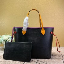 1:1 original leather Louis tote shoulders bag neverfull MM M54185/M55216 00418 top quality