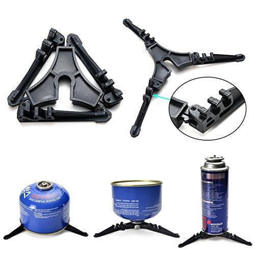 Zebery Camping Cookware Stove Carabiner Canister Stand Tripod Folding Spork Set