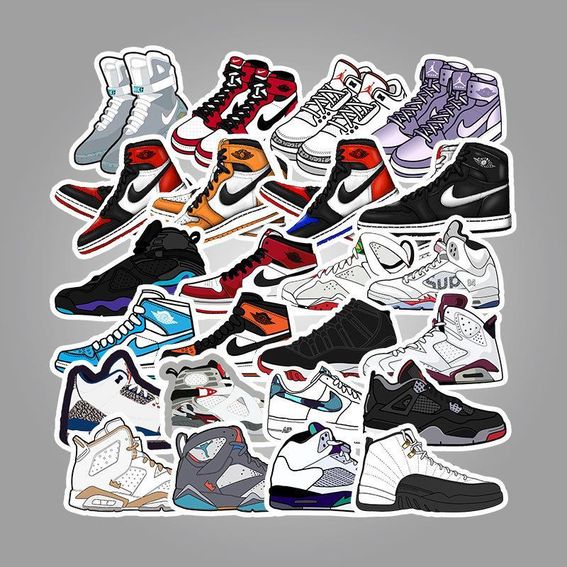 Air Jordan Shoe Laptop Stickers 50Pcs Pack, Cool Teen Water Bottle ...