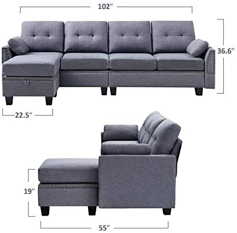 Honbay Reversible Sectional Sofa Couch, Dineli Patio Furniture Sectional Sofa With Gas Fire Pit Table Ou