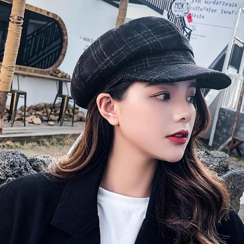ANDERDM 2019 Wool Cotton Blend Caps Octagonal Cap Elegant Beret Hats for Women Spring Newsboy Hats