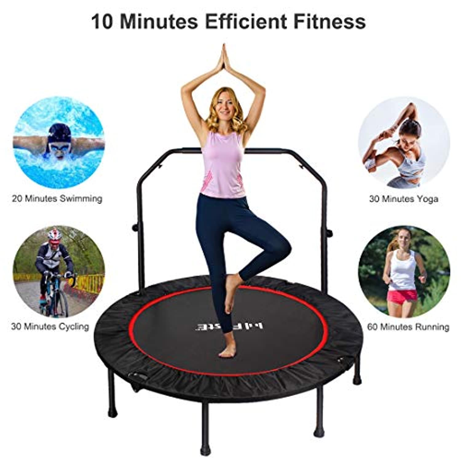 PAGLE Trampoline for Kids and Adults 48 Inch Upgraded Foldable Children Trampoline Portable Trampoline Padded Cover Exercise with Parents Use for Child Age 3+ for Indoor and Outdoor