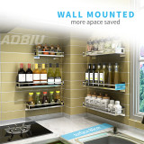 Silver Single-Layer Wall-Mounted Kitchen Spice Rack Wall Mount Organize