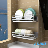 2 Pair Dish Rack Wall Steel Multi-function Dish Dryer, Kitchen Organizer Bowl Rack with Drain Board