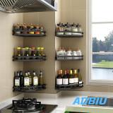 2 PairKitchen Shower Corner Shelf,,stainless steel Storage Shelves Triangle Baskets Polished Black