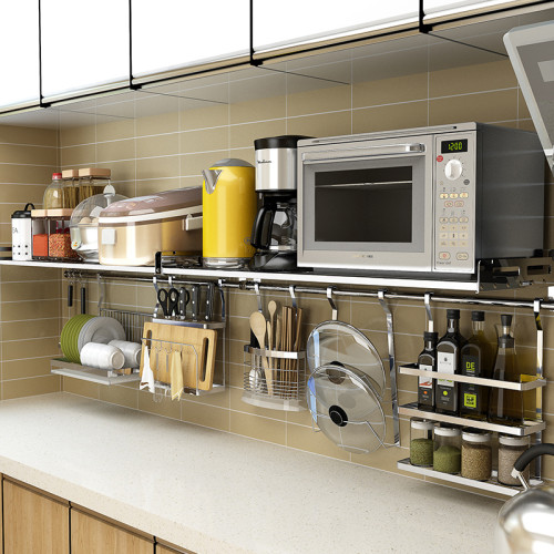 Pot Rack Wall Mounted Kitchen Pan Rack Kitchen Storage Organizer Stainless Steel