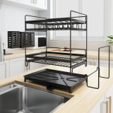 Rust-Proof Kitchen Draining Dish Drying Rack, Dish Rack With Black Drain Board