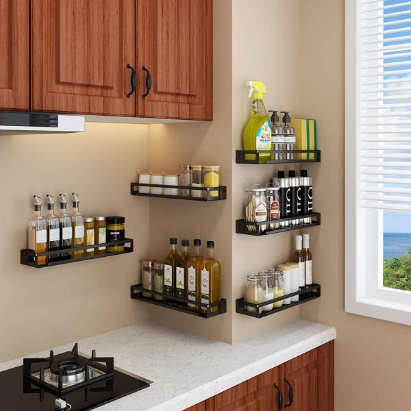 Black Single-Layer Wall-Mounted Kitchen Spice Rack Wall Mount Organizer(2 Sets Included)