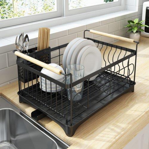 Rust-Proof Kitchen Draining Dish Drying Rack, Dish Rack With ...