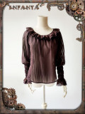 Infanta -Mechanical Puppets- Punk Long Sleeve Chiffon Loose Fitting Lolita Blouse with Ruffle Collar