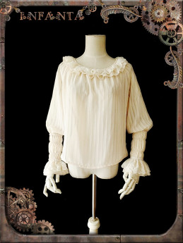 Infanta -Mechanical Puppets- Punk Long Sleeve Chiffon Loose Fitting Lolita Blouse with Ruffle Collar
