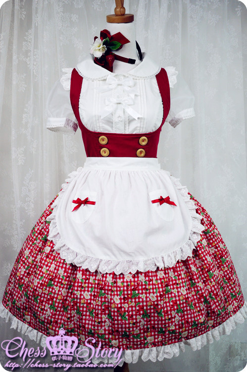 Chess Story -Cherry&Straberry- Sweet Lolita Salopettes With Apron