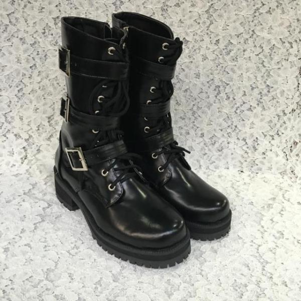 Antaina - Punk Lolita Heels Shoes Boots With Belt Metal Buckles