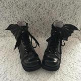 Antaina - Punk Lolita High Platform Short Boots With Devil Wings