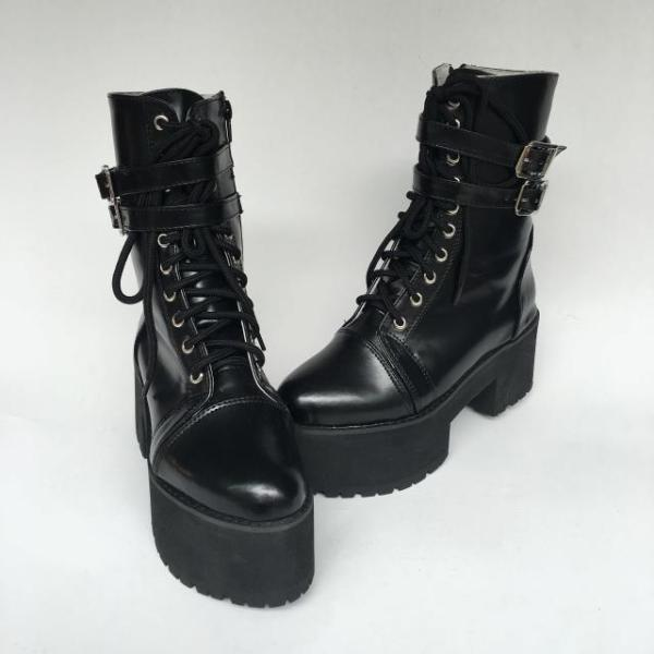 Antaina - Punk Lolita High Platform Short Boots With Belt Metal Buckles