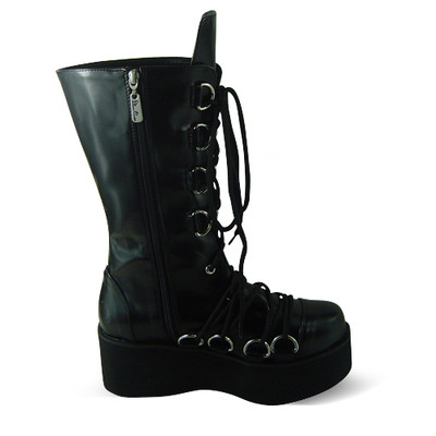 Antaina - Punk Lolita Side Zippers High Platform Boots With Metal Buckles