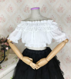 Sweet Off Shoulder Short Sleeve Ruffle High Waist Lolita Blouse