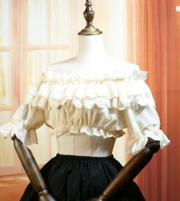 Sweet Off Shoulder Short Sleeve Ruffle High Waist Lolita Blouse
