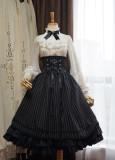 Surface Spell - Gothic High Waist Knee Long Lolita Skirt