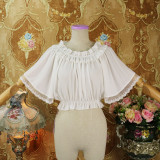 Sweet Chiffon Flare Sleeve Off Shoulder High Waist Lolita Blouse
