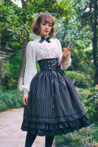 Surface Spell - Gothic High Waist Knee Long Lolita Skirt