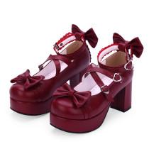 Angelic Imprint - Sweet 8cm High Chunky Heel Platform Round Toe  Lolita Shoes with Bow