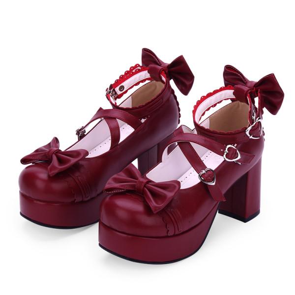 Angelic Imprint - Sweet 8cm High Chunky Heel Platform Round Toe  Lolita Shoes with Bow