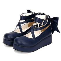 Angelic Imprint - Sweet  5cm Mid Heel Platform Round Toe Lolita Shoes with Bow