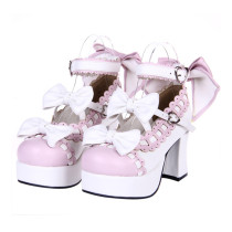Angelic Imprint - Sweet High Chunky Heel Platform Round Toe Lolita Shoes with Bow