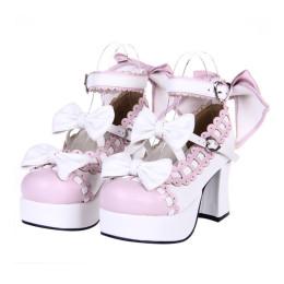 Angelic Imprint - Sweet High Chunky Heel Platform Round Toe Lolita Shoes with Bow