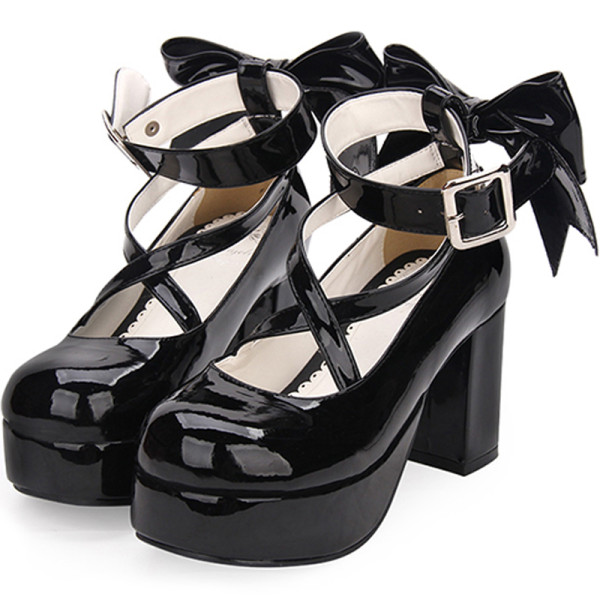 Angelic imprint - Classic High Chunky Heel Platform Round Toe Lolita Shoes with Bow and Cross Strap
